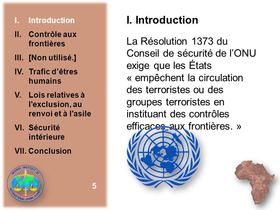 I. Introduction I. Introduction. II. Contrôle aux frontières. III. [Non utilisé.] IV. Trafic d'êtres humains.